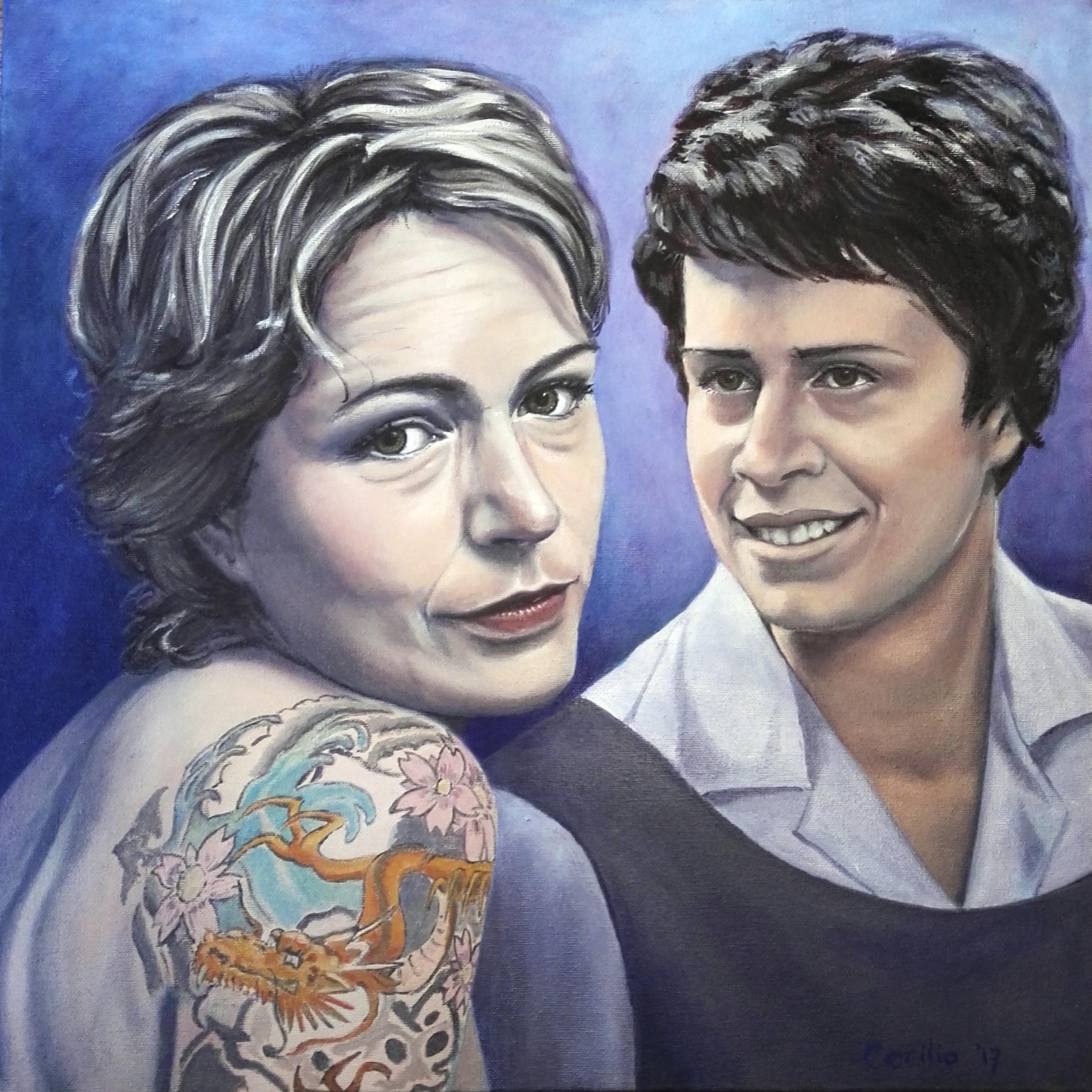 Dubbelportret Renate en haar moeder